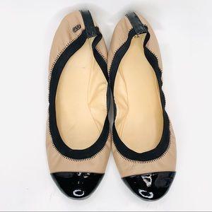 COLE HAAN Deltona Nude & Black Leather Ballet Flat